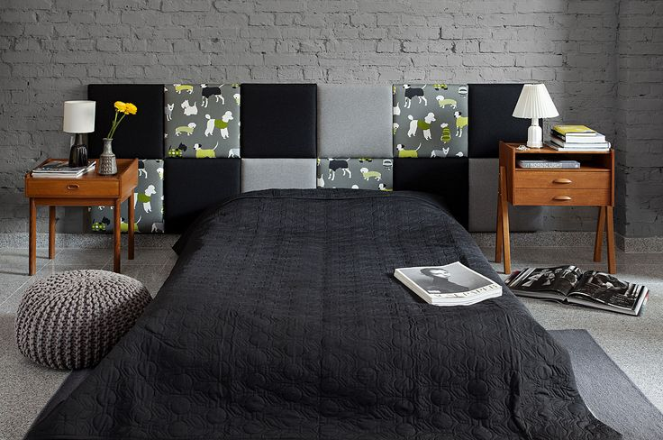 madeforbed.com, modular headboard, beautiful bedroom, patchwork headboard, grey, wool