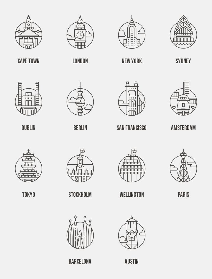 I really love the simple line art on these icons - it makes ancient structures so clean and modern.