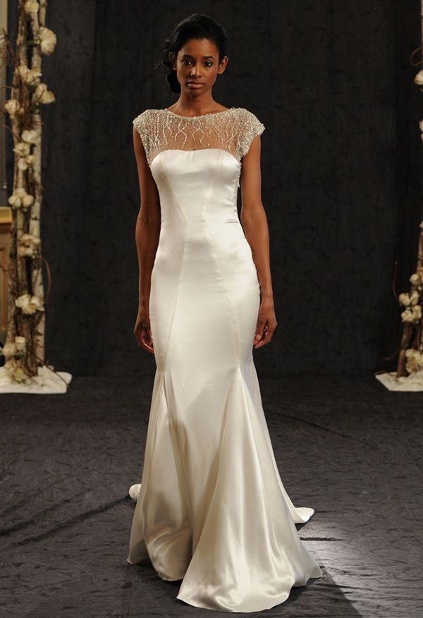 Fitted Silk Wedding Dress with Illusion Neckline | Anne Bowen Fall/Winter 2014 | Reem Acra Bridal Spring 2015 | See More! http://heyweddinglady.com/bridal-market-2015-three-fab-wedding-dress-trends/