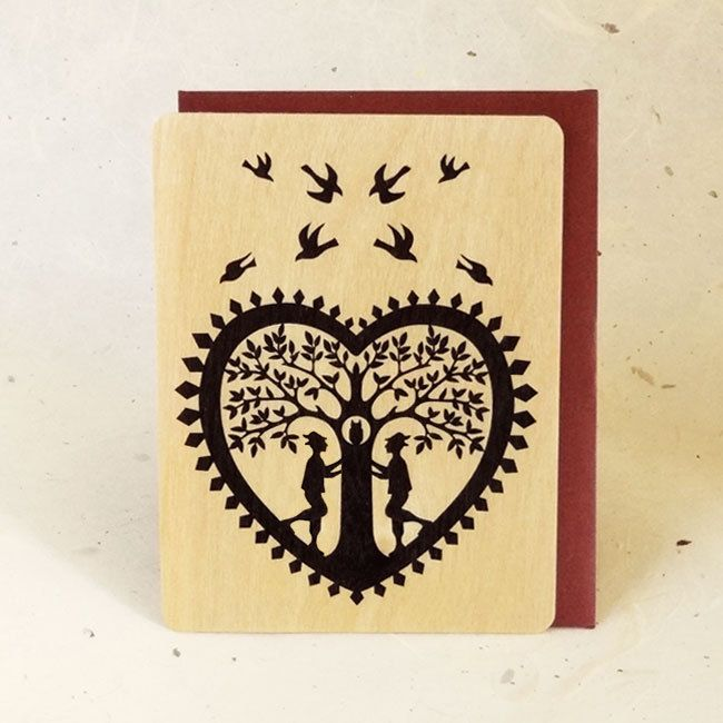 Gay Lovers Valentine Eco-Friendly Fine Art Wood Greeting Card by LittleGoldFoxDesigns on Etsy