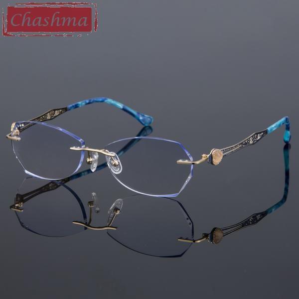 120b25a036d Prescription Women Degree Eyeglasses Glasses Tint Colored Gradient Lenses  Gold Rimless Frame Ready Myopia D-06  Discounts  BestPrice
