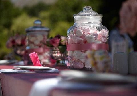 Pink and White Marshmallows in a Bowl on Table at Outdoor Wedding