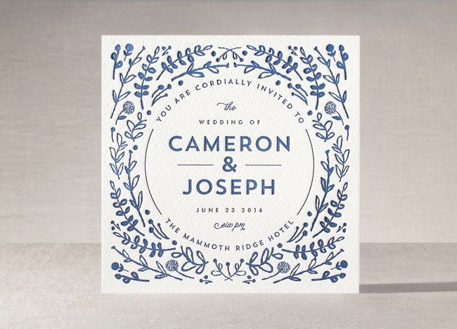 blue foliage letterpress