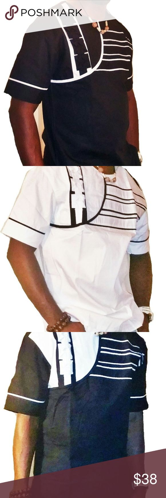 Dashiki African Mens Clothing This is a classic Men's short Sleeve African Traditional clothing finely and neatly sewn and it's made with high quality fabric. It has a perfect finish and it is ideal for any special occasion be it wedding ceremony, church service, party, outdooring etc.This costume can also be a perfect gift option to a love one. African Clothing Men Shirts Casual Button Down Shirts