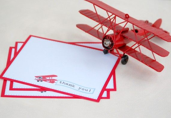 The Vintage Plane Collection - Custom Thank You Cards from Mary Had a Little Party. $15.00, via Etsy.