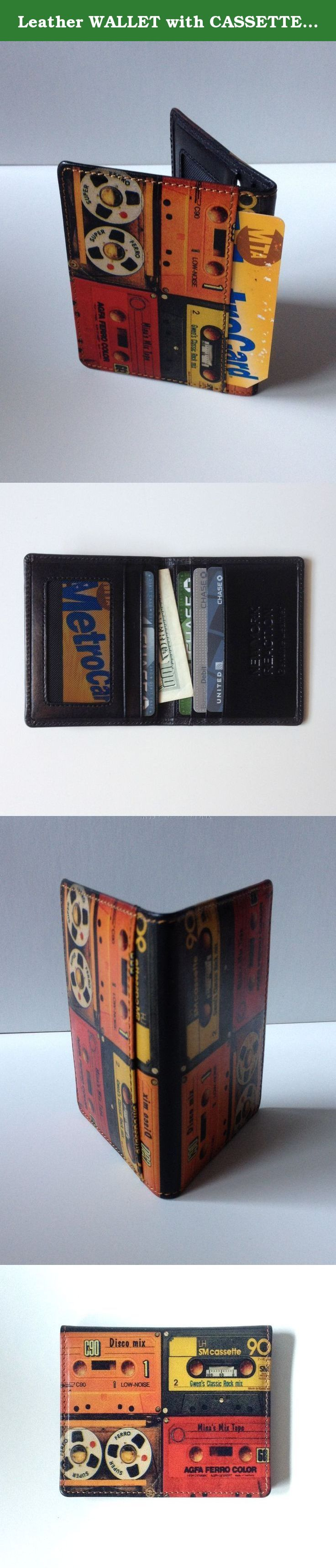 Leather WALLET with CASSETTE TAPE DESIGN Slim Card Holder. Cool Colorful Graphic Design is printed on both sides. HAND CRAFTED...HAND PRINTED...GENUINE LEATHER Small BI FOLD WALLET Folded size App. 3.25 inch x 4 inch 8cm x 10.5cm 4 Card Slots inside ( 3 on one side and 1 on the other side ) 2 inner pocket for Cash / ID / Driver's License,etc. 1 outside Window Pocket on the back for ID /Driver's License etc (shown in the pics) Each pocket is beautifully lined. Hand made using traditional...