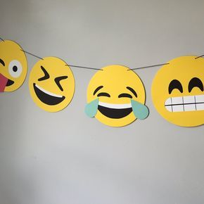 Emoji Banner Style #2 // emojis, crying laughing, sunglasses, kawaii, iOS, hipster, photo booth, dorm decor