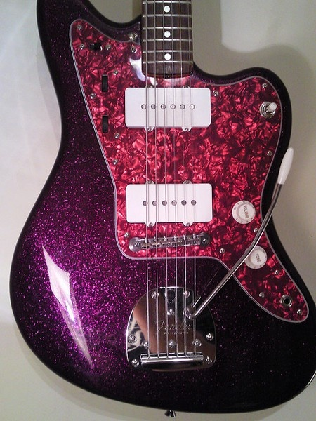 fender jazzmaster guitar purple haze awesome purple sparkle but don 39 t think the red pickguard. Black Bedroom Furniture Sets. Home Design Ideas