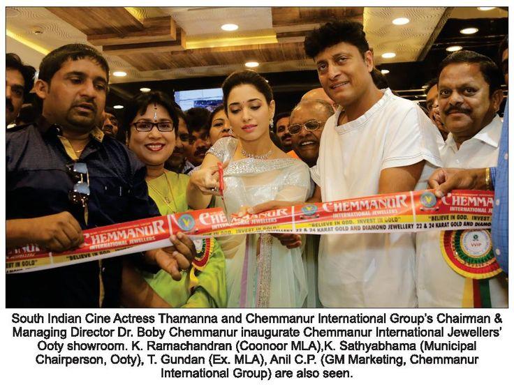 Dr. Boby Chemmanur & Tamanna inaugurated Chemmanur International Jewellers Ooty showroom.