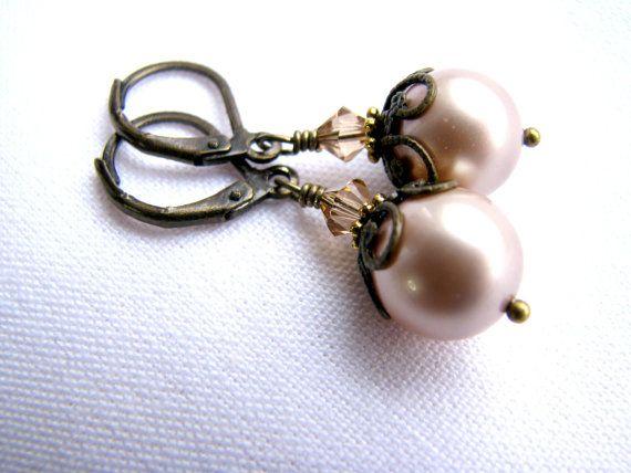 Almond Brown Pearl Earrings Swarovski Crystal Earrings