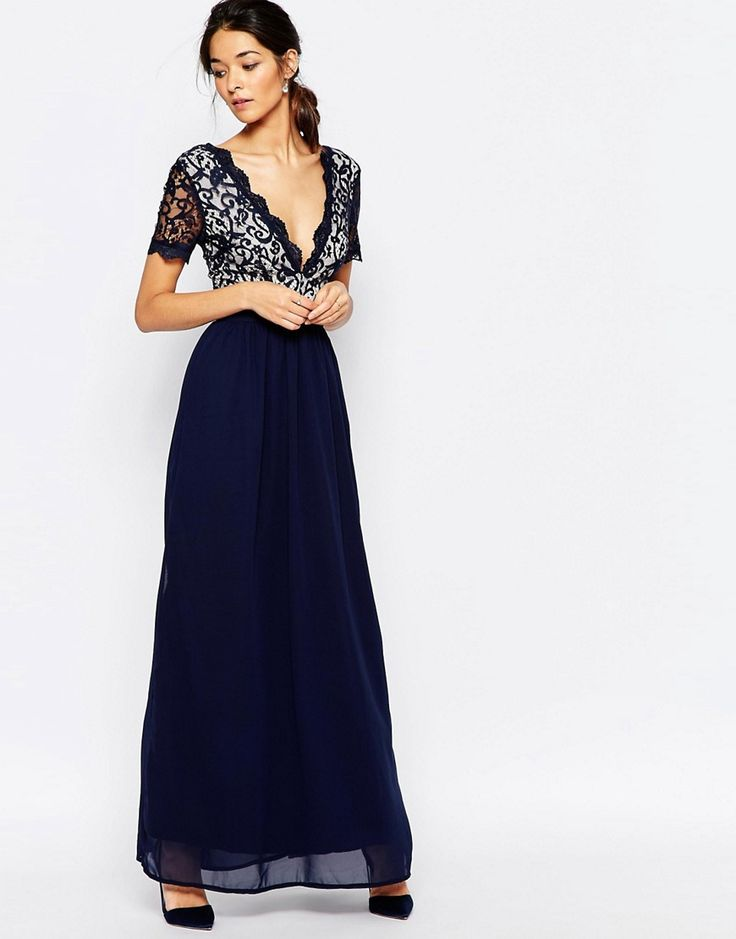 Image 1 of Club L Lace Scallop Occasion Maxi Dress