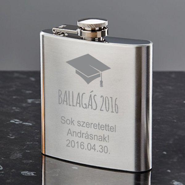 Ballagásra, diplomaosztóra csak is egyedi ajándék dukál. Lepje meg barátját, osztálytársát vagy gyermekét egyedi homokfúvott flaskával, mely praktikus és örök emlék lehet mindenki számára. A flaska rozsdamentes acélból készült, melynek űrtartalma 210ml.