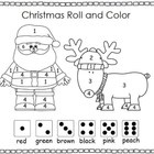 Christmas Roll and Color, Santa and ReindeerRoll a die and color the number the corresponding color...