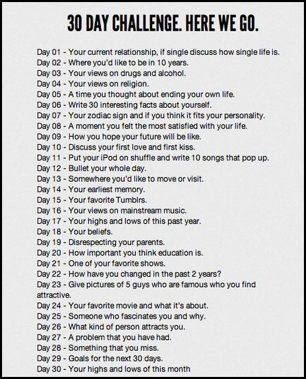 30 day writing challenge - full of writing prompts/ideas. I'm doing this 'instead' of NaNoWriMo - at the very least it will keep me writing on a regular basis all month