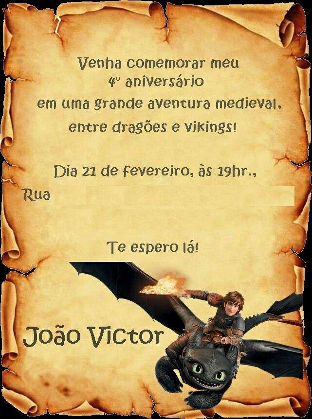 Convite Como treinar seu dragao - R$10,00 reais.