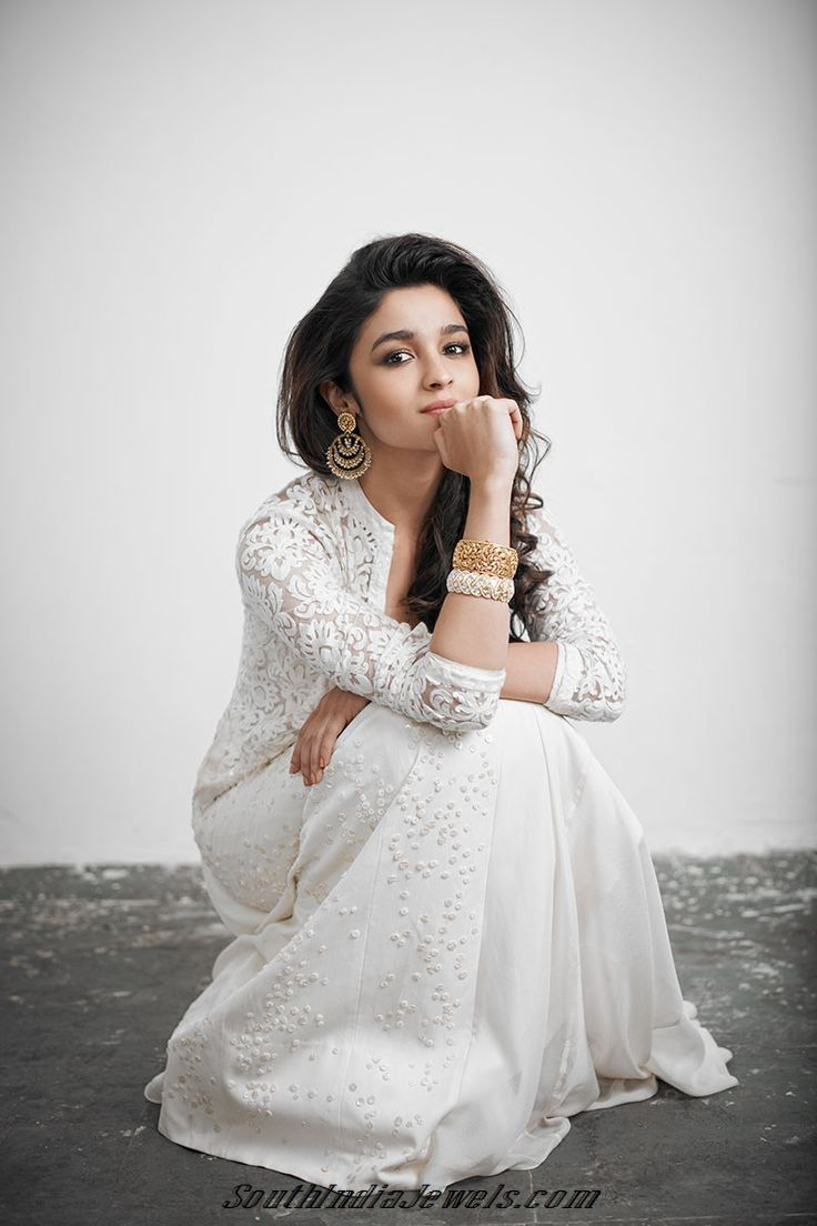 Actress Aliabhat on designer pearl Jewelry and eye catching antique bangles.