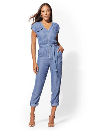 5b942425bf5 Shop Ultra-Soft Chambray Utility Jumpsuit. Find your perfect size online at  the best price at New York   Company.