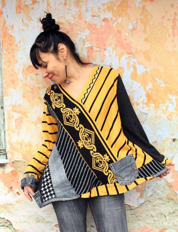 black denim recycled sweater hippie boho style neues aus altem n hen pinterest kleidung. Black Bedroom Furniture Sets. Home Design Ideas