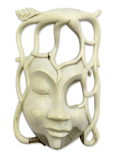Hibiscus Wood Mask Surreal Art Hand Carved 'Woman of the Forest' NOVICA Bali