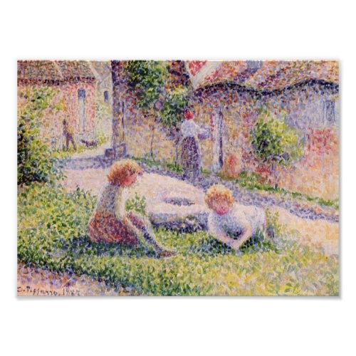 Camille Pissarro-Children on a farm Poster