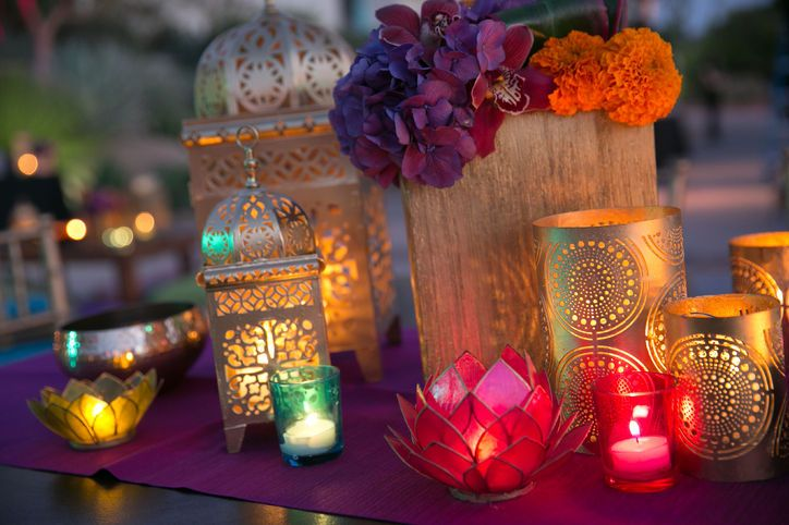 Real Wedding Album: Elshane & Taylor's Moroccan-Themed House Party colorful moroccan centerpieces flowers