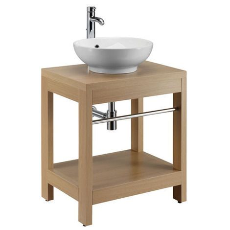 Tuoni floor standing unit with towel rail - oak