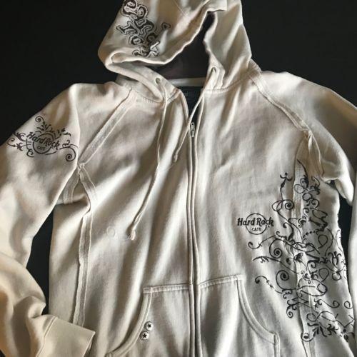 Hard-Rock-Cafe-NYC-Hoodie-Kids-XL-Girls-Beige-Floral-Sweatshirt-Embroidered