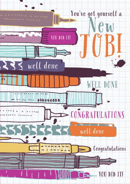 Rebecca Prinn - RP New Job Pens Congratulations Greeting Card