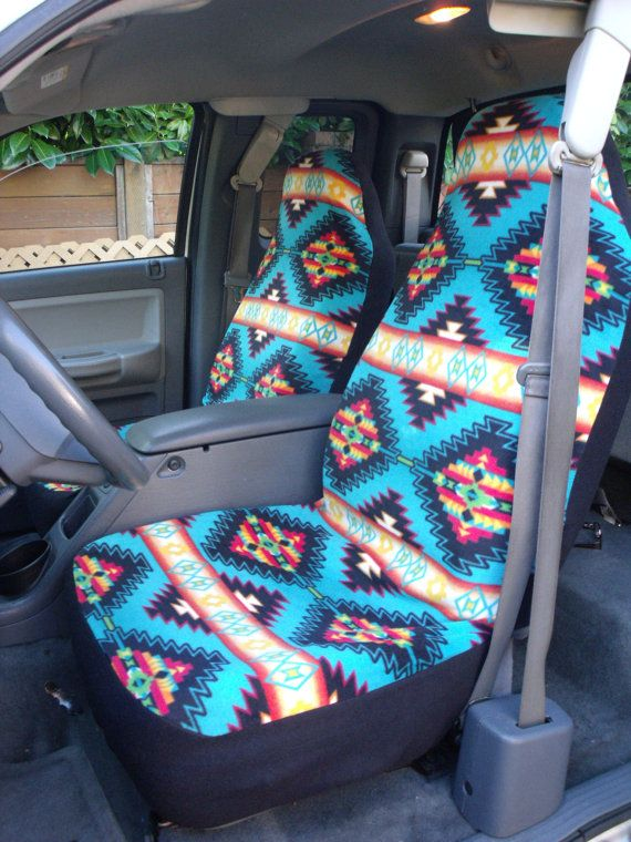 1 Set  of Native Blanket Strips Turquoise Print  Seat covers and Steering Wheel Cover Customs made.