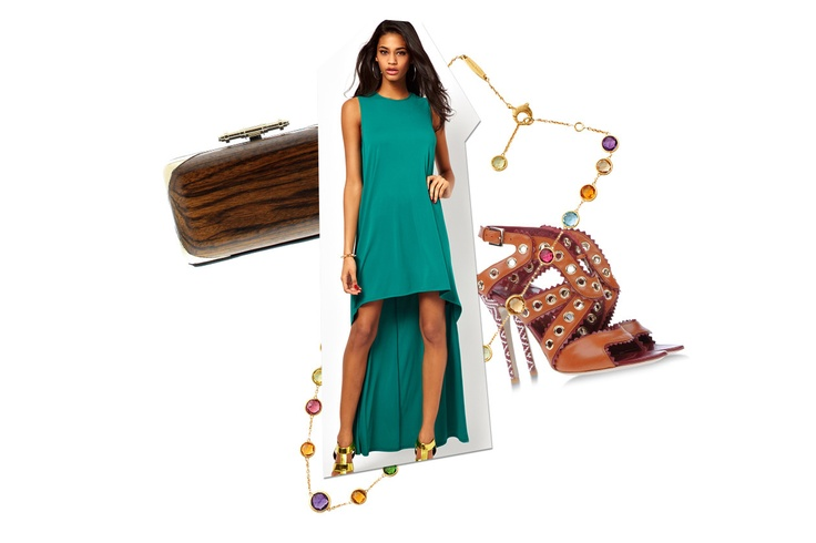 Abito Asos, clutch in legno Givenchy, sandali Daniele Michetti e collana in oro e pietre Marco Bicego
