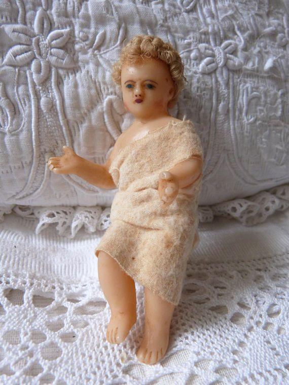 ♯≥ Antique French religious wax #statue infant #child Jesus nativity #creche... http://etsy.me/2zbCV3P