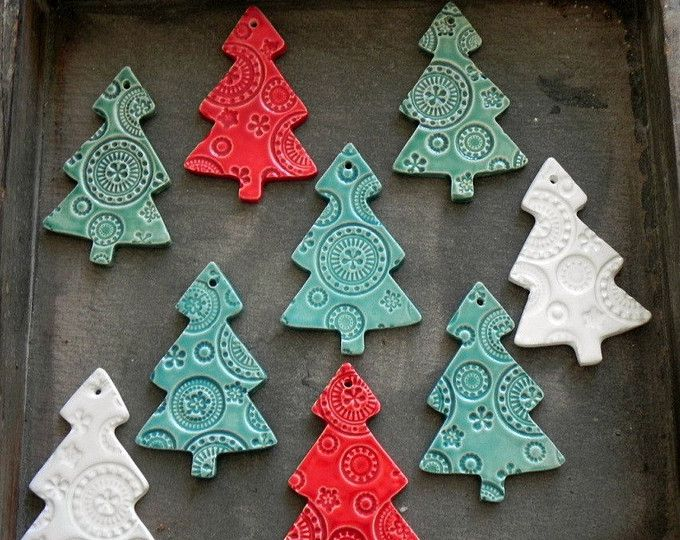 Christmas Tree Ornaments, Lace Mint Ceramic Christmas Ornaments, Winter Home Decoration Gifts, 3 X-mas Gifts, Green Tree Home Decor