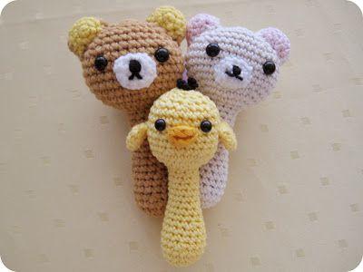FREE Crochet Pattern: Kawaii and Cute Baby Rattles Amigurumi : Rilakkuma, Korilakkuma & Kiiroitori | Nanaliciouz
