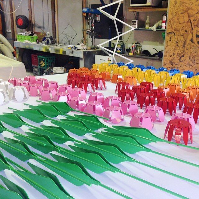 The final assembly of our new metal petals.  #inproduction #futureflowers #newmetalpetals #everlasting #metalpetals #metalflower #drinkholder #lovecolor #rainbow #localmanufacturing #powdercoat #interiors #interiordesire #styling #madeinyarraville #nogoatforjack
