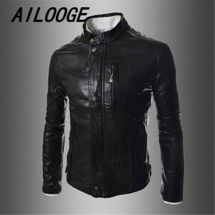 Motorcycle Leather Jacket Men Slim Fashion Stitching Full Flight Leather Red Jacket Clothing Jaqueta De Couro Masculina