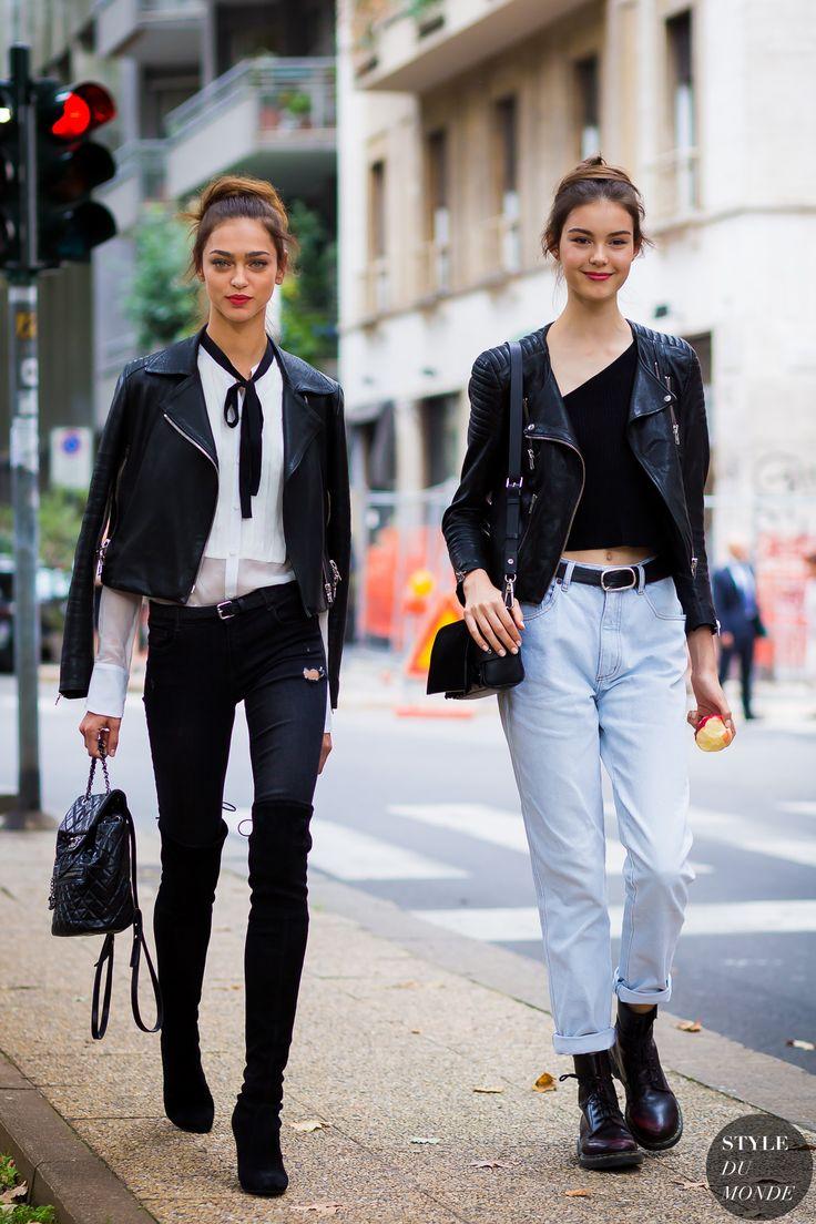 Models Zhenya Katava and Irina Shnitman serving up a double dose of New York streetstyle.