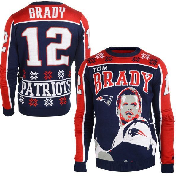 Men's New England Patriots NFL Tom Brady Klew Navy Name & Number Ugly Sweater