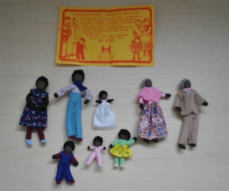 VINTAGE DOLLS HOUSE HALFPENNY DOLLS FAMILY - F82 BLACK FAMILY   eBay