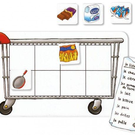 LISTE DES COURSES GA631 Produit standard 12345 1 note(s) - 1 avis Chaque participant reçoit un caddy et une liste de courses. Tous les objets sont posés faces cachées devant les joueurs. Il s'agit de retrouver les éléments de sa liste et de remplir son caddy. 2 à 4 joueurs. Contient 4 cartons Caddy, 4 listes de courses et 32 cartes objets. Dès 3 ans.