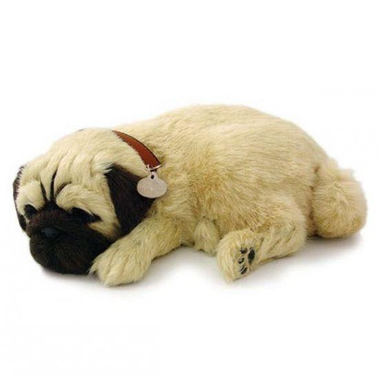Slapende knuffels bij warenhuis Trendmax, Levensechte slapende Mopshond,ademend,ademende,bewegend,bewegende,levensecht,levensechte,mops,mopshond,pup,puppie
