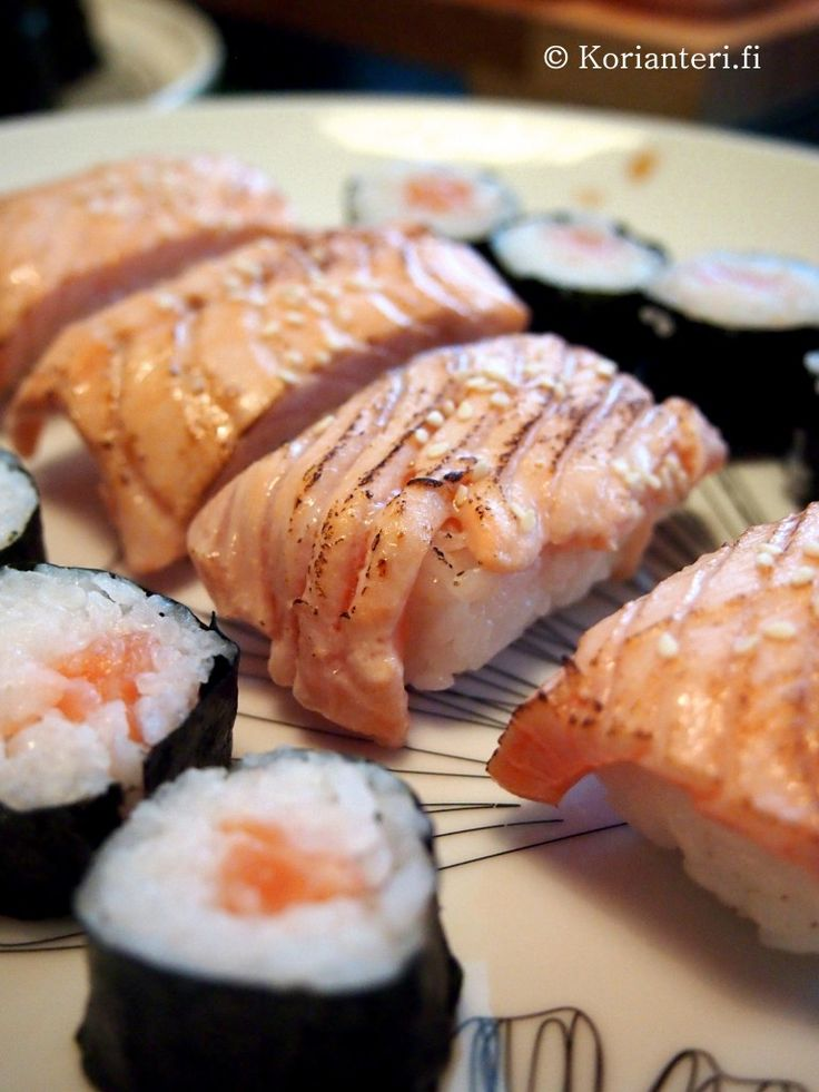 Salmon sushi and nigiri.