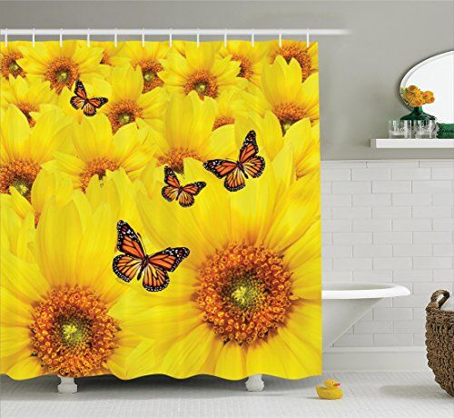 Ambesonne Sunflower Decor Collection, Sunflower Flowers Atop One Another Butterfly Warm Colors Round Close Up Details Fun Design, Polyester Fabric Bathroom Shower Curtain Set with Hooks, Yellow Orange -  http://www.trendingviralhub.com/ambesonne-sunflower-decor-collection-sunflower-flowers-atop-one-another-butterfly-warm-colors-round-close-up-details-fun-design-polyester-fabric-bathroom-shower-curtain-set-with-hooks-yellow-orange/ -  - Trending + Viral Hub