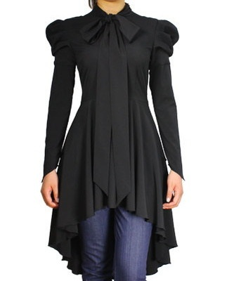 Gothic Victorian Steampunk Vintage Gypsy Black Top Blouse Dress
