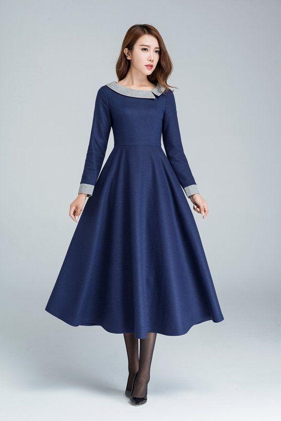 Blue wool dress, midi dress, winter dress, party dress, modern dress, ladies dresses, custom made dress, plus size clothing 1611