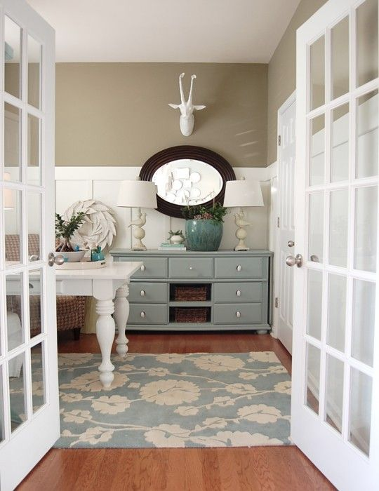No doubt about it. Colors will be white with a light teal and light sand or mocha.  home makeover. This would be perfect for small bedroom. Craigslist dresser painted with chalk paint. Spray-paint  MILs brass lamps white and buy new shades. This will be awesome!