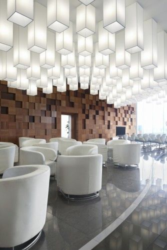 """""""Pixel""""concept flexibly apply to many parts of interior and outerior decoration. Ceiling filled with paper lighting carry out the impact of the same kind of facilities."""