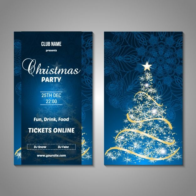 Christmas party poster design Free Vector