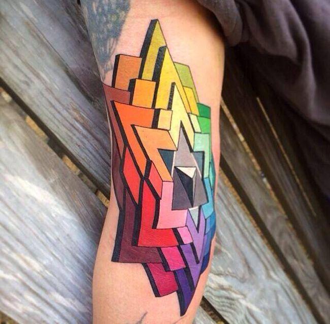Colorful 3D Star Tattoo By Russ Abbott   Best Tattoo Ideas & Designs