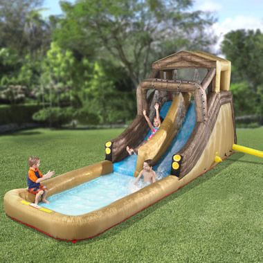 summerInflatable Backyards, Logs Flume, Backyards Logs, Front Yards, Hammacher Schlemmer, Kids, Water Sliding, Summer Fun, Water Parks