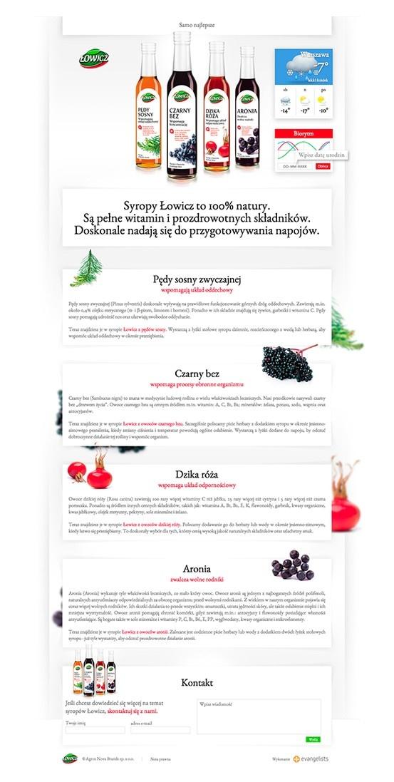 Landing page kampanii promującej syropy Łowicz